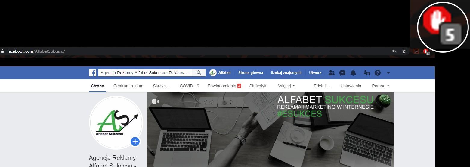 Adblock blokuje opcje Facebooka