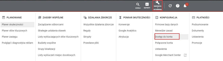 Przydzielanie dostępu do konta Google Ads