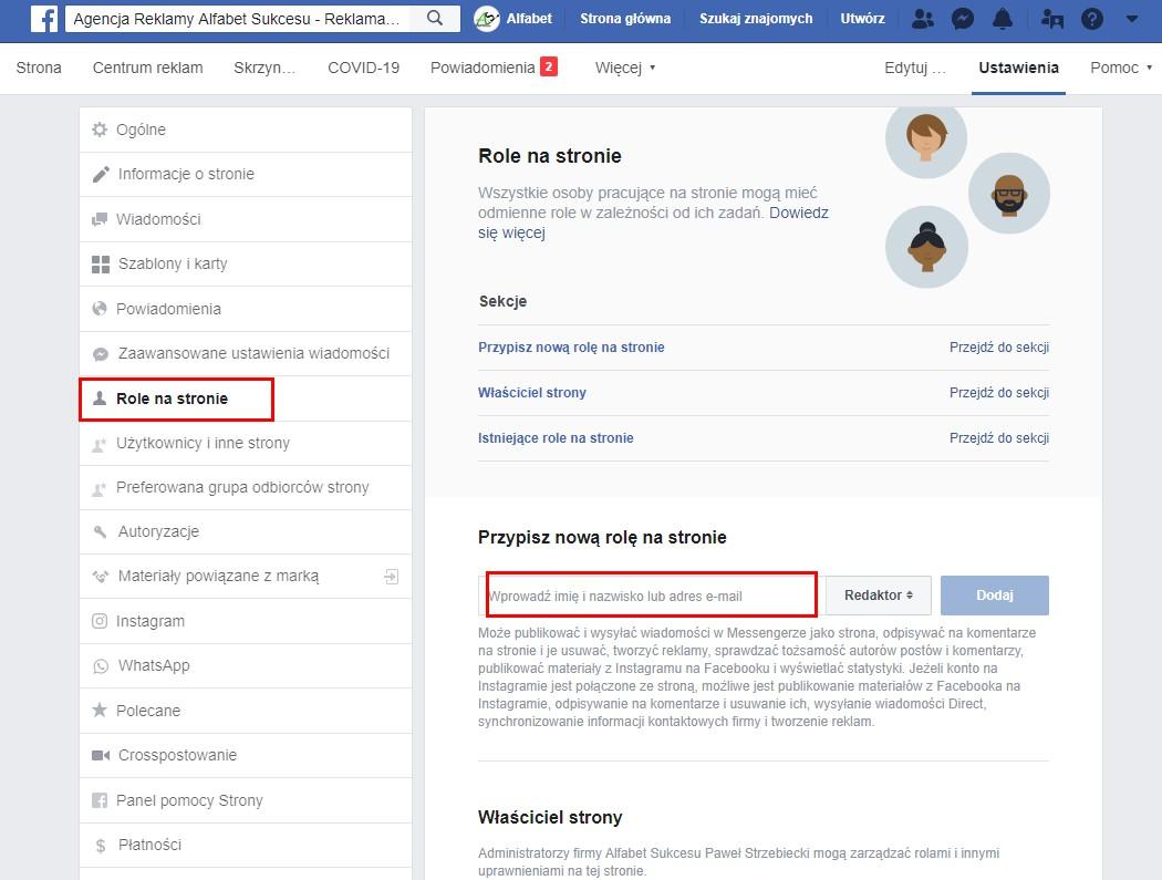 Ustawienie roli na facebooku