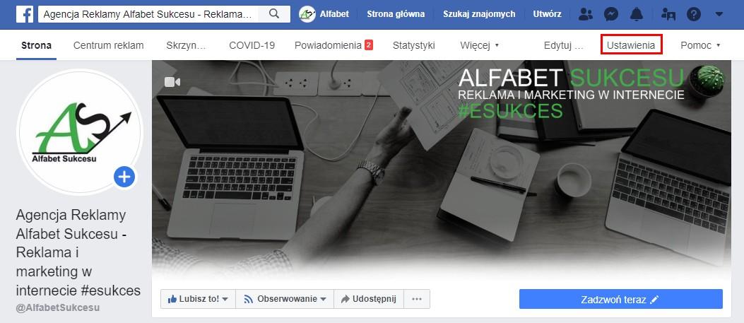 Ustawienia strony firmy Facebook