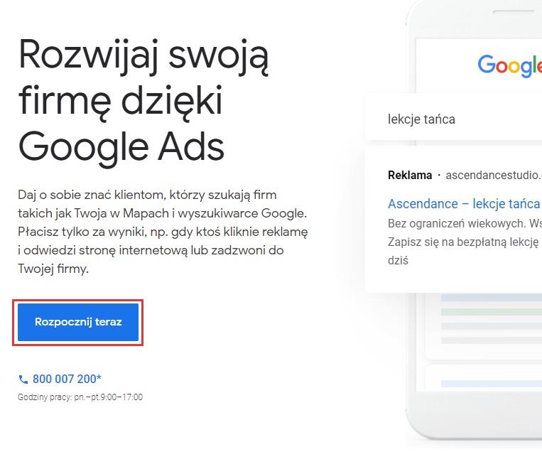 Zakładanie konta Googla ADS